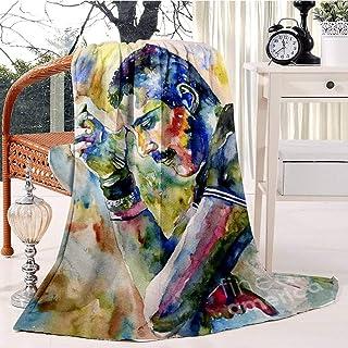 Freddie Mercury watercolor Bed Blanket Plush Velvet Soft Warm Blanket Lightweight Microfiber Blanket Christmas Blanket for...