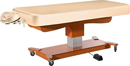 Master Massage Tables MaxKing Comfort Electric Lift Spa Salon Stationary Pedestal Flat Beauty Bed Package, Cream
