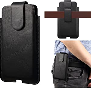 Premium Genuine Leather Pouch Holster Case for for iPhone 12,12 Pro,11,11 Pro,XS,X,XR Cell Phone Holster with Belt Loop for Samsung Note10 s21