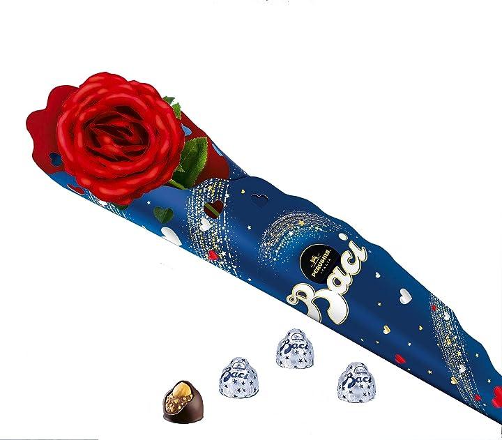 Rosa rossa baci perugina + 75 gr di baci perugina idea regalo san valentino B083Y782HB