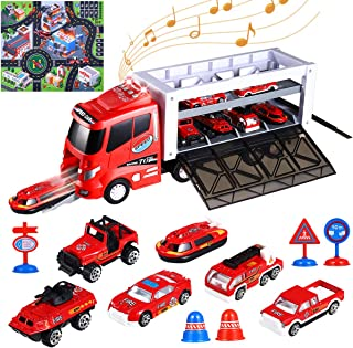 iBaseToy Transport Car Carrier Truck Toy with Lights and Sounds, 2020 New Version Die-cast Fire Truck Toy with Fire Engine Cars, Roadblocks & Play Mat for Kids Toddlers Boys 3, 4, 5, 6, 7 Years Old