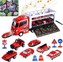 iBaseToy 13 in 1 Fire Truck Toy with Sounds and Lights, Die-cast Transport Fire Truck Carrier with Fire Engine Cars, Roadblocks & Play Mat for Kids Toddlers Boys 3, 4, 5, 6, 7 Years Old
