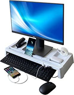 Monitor Stand with Keyboard Storage, USB Ports and Storage Organizer for Mac, Computer, Desk, White