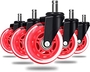 5 Packs Office Chair Caster Wheels,3'' Universal Office Chair Ball casters Replacement Rubber Desk Chair casters for Hardwood Floors and Carpet mats, Heavy Duty Safe Smooth Rolling for All Floors