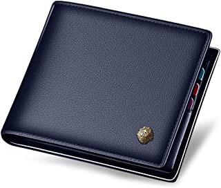 LAORENTOU Men's Wallets, Genuine Cow Leather RFID Blocking Gift Box Packaging Leather Mens Bifold Wallets with Zipper Coin Pocket Casual Men Purse Slim Short Wallet Gift for Men Birthday(Dark Blue)