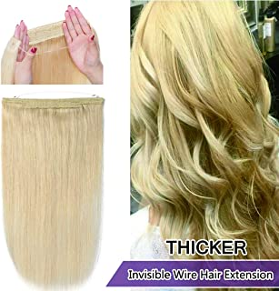 SEGO Invisible Secret Double Wire Hair Extensions Human Hair Translucent Fish Line Hidden String Crown Hair Extensions with Miracle Headband Hairpieces #613 Bleach Blonde 18 inches 100g