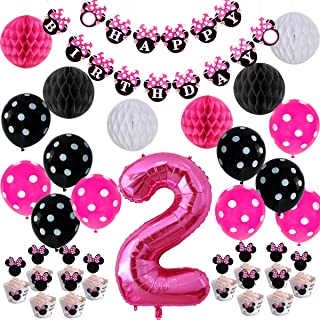 Minnie Themed 2nd Birthday Supplies Kit - Minnie Themed Party Decorations Hot Pink Happy Birthday Banner Cupcake Toppers Wrappers