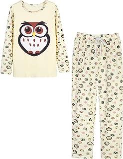 Women Pajamas Cute Owl Sleepwear Comfy Pajama Pants Long Sleeve Night Suits