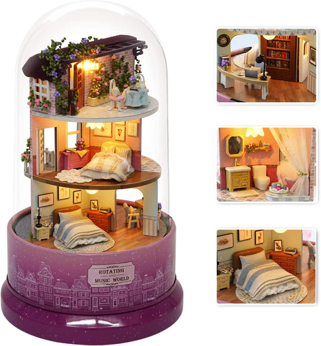Regular dealer DIY Miniature Dollhouse favorite Kit with Music Bo Furniture Spin Rotate