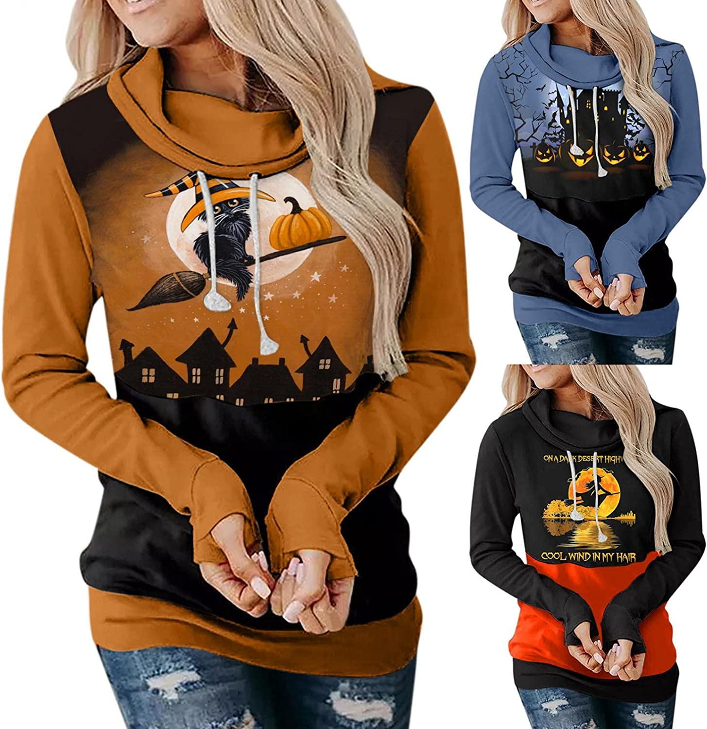 Fudule Halloween Shirts for Women Casual Sweatshirts Witch Pumpkin Graphic Costumes Long Sleeve Hoodies Casual Pullover