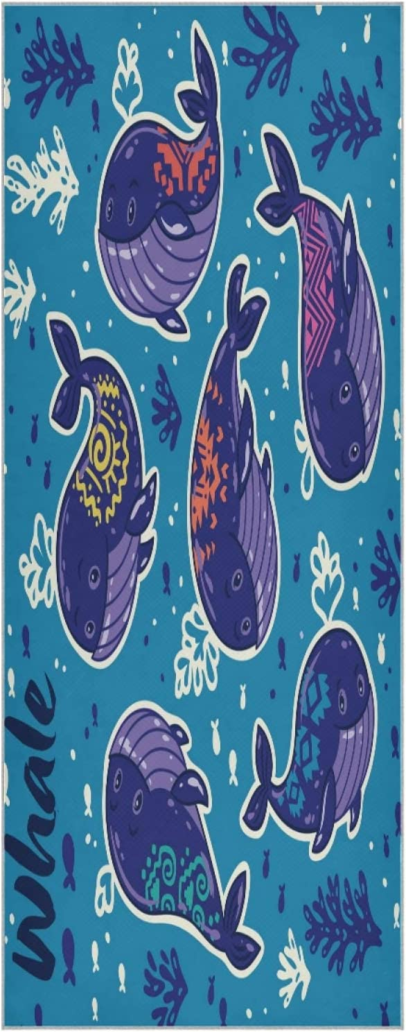 73 Inch Yoga Mat Towel Camo Slip Funny Foldab Whale Non Superior Undersea sold out