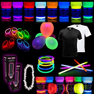 Party Set [XL] neon nights Fun-Pack 65 pieces with UV Body Paint + Fabric Glow Paints + Black Light Bulbs + T-Shirts + Brushes | Blacklight Decoration Box