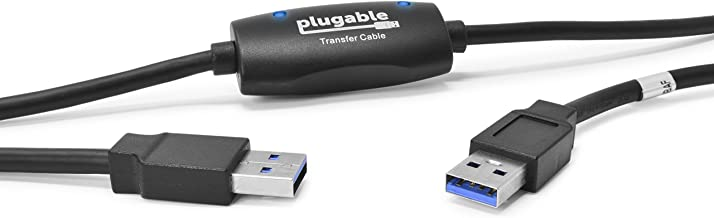 Plugable USB 3.0 Transfer Cable, Unlimited Use, Transfer Data Between 2 Windows PC's, Compatible with Windows 10, 8.1, 8, 7, Vista, XP, Bravura Easy Computer Sync Software Included