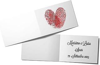 110 PZ Biglietti Bomboniera Matrimonio Cuore Impronte Digitali