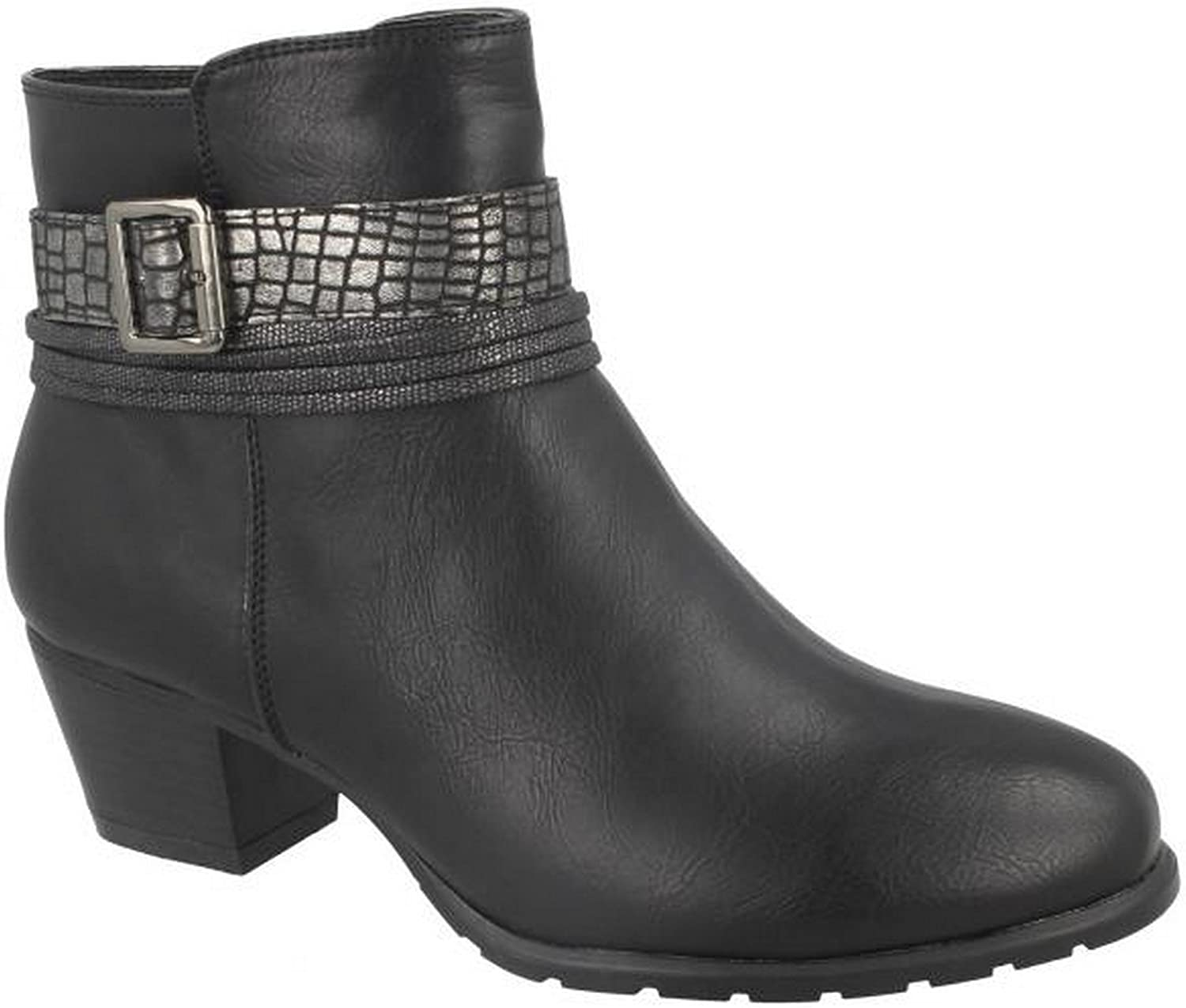 Spot On Womens Ladies Snake Buckle Strap Ankle Boots