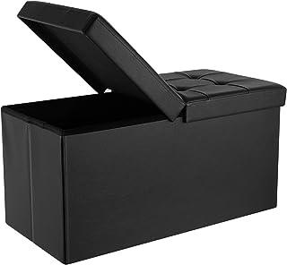 Homfa Baúl Puff Plegable Taburete de Almacenamiento Negro