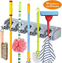 Weltime Mop and Broom Holder, Multipurpose Wall Mounted Magic Holder Broom & Mop Organizer Storage Hooks, Ideal Broom Hanger for Kitchen Garden, (mop Holder and Broom Holder)(Grey)