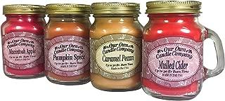Our Own Candle Company 4 Pack Fall Assortment Mini Mason Jar Candles - 3.5 Oz Caramel Pecan, 3.5 Oz Mulled Cider, 3.5 Oz Pumpkin Spice, 3.5 Oz Macintosh Apple