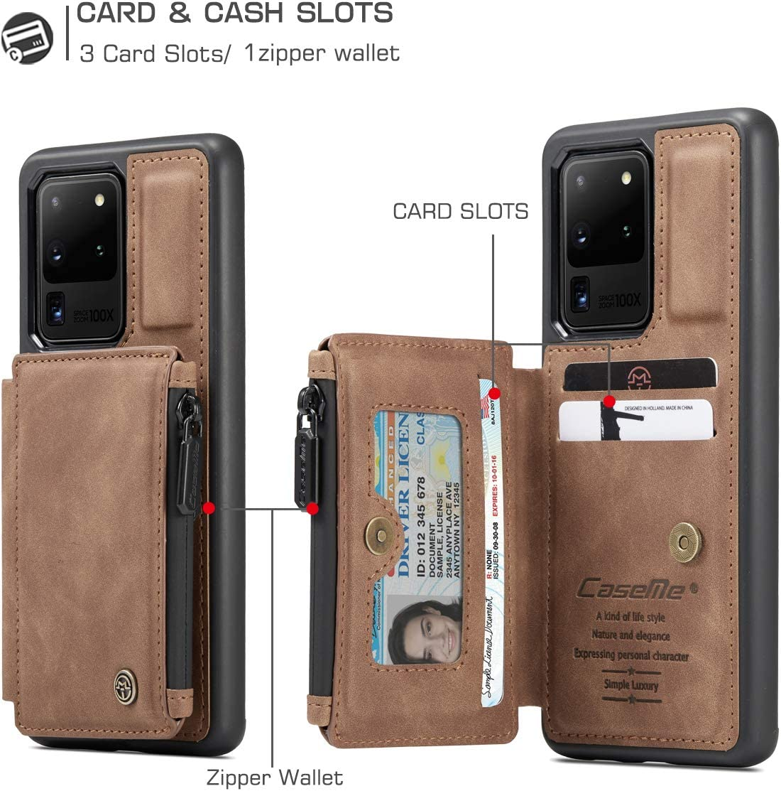 WintMing Compatible with Samsung Galaxy S21 Ultra Wallet Case with 3 Card Solts Leather Flip Case Stand Feature Magnetic Closure Protective Cover for Samsung S21 Ultra 5g