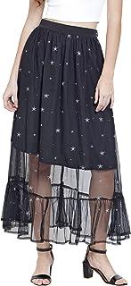 Martini Women Black Star Print Mesh Skirt