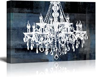 wall26 Canvas Wll Art - Crystal White Chandelier on Blue Abstract Vintage Background - Giclee Print and Stretched Ready to...