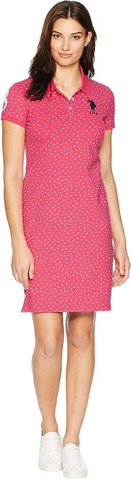 Leaf Bud Print Polo Dress