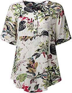 TT WARE Casual Women Printed Patchwork Short Sleeve Rayon Blouses-Red-5XL