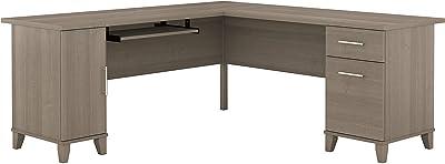 Bush Furniture Somerset L Shaped Desk with Storage, 72W, Ash Gray