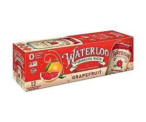 Waterloo Sparkling Water Grapefruit Flavor Zero Calorie No Sugar 12oz Cans (Pack of 12), Fruit Flavo