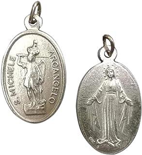 Eurofusioni Medaglia San Michele Arcangelo e Madonna Miracolosa placcata Argento - H 2,5 cm - 10 Pezzi