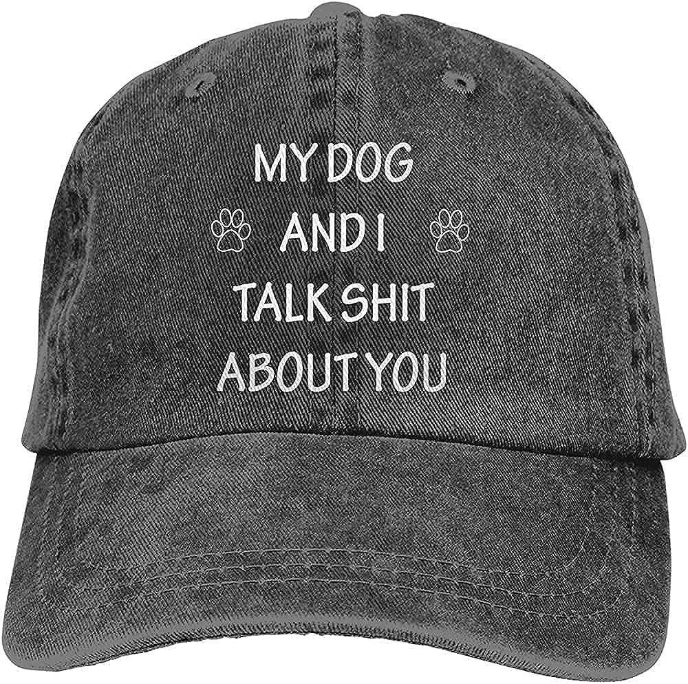 BGWORZD Gorgeous My Dog and I Talk Shit About You Hat Funny DogCotton Adjustable Retro Washable Cowboy Hat Unisex Baseball Cap Black