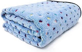 PAWZ Road Pet Dog Manta Fluffy Fleece Fabric Suave y Linda Warm Dot Print Manta Lavable para Gatos y Perros Azul 140 * 100cm