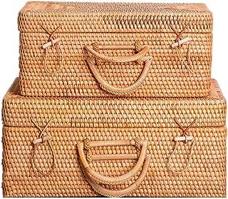 Paniers de Rangement en Rotin Rotin panier Boîte de rangement Valise avec couvercle Panier de rangement Coffre à jouets Pa...