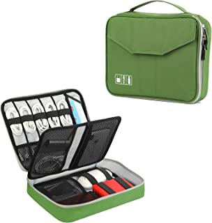 Electronics Organizer, Vivefox Double Layer Travel Bag Accessories Cable Organizer for Cords, USB Cable, SD Cards, Hard Drive, Power Bank, E-Book Kindle, iPad and More (Medium, Green)