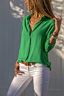 KTHGSBM shirt Women Tops Blouses Autumn Elegant Long Sleeve Solid V-neck Chiffon Blouse Work Shirts Office 6XL Green
