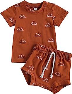 Baby Toddler Boy 2-Piece Shorts Set, Short Sleeve Cute Sun Print T-Shirt Tops and Shorts Summer Outfit