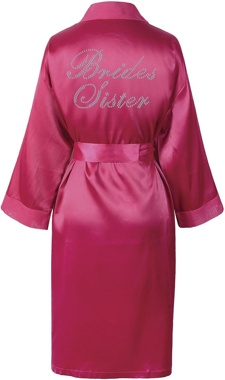 CrystalsRus Varsany Hochzeitstag Strass Satin Schwester der Braut Bademantel individueller Flitterwochen Morgenmantel Pink