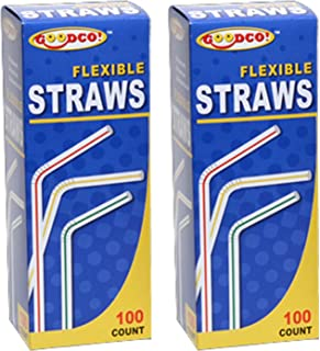 GoodCo! Flexible Straws, 100 ct, Pack of 2 (Total 200)