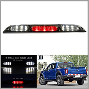 Black+Smoke AUTOMUTO Rear Roof Center LED Third 3rd Brake Cargo Light Assembly High Mount Brake Tail Light Replacement for 15-17 Ford F-150