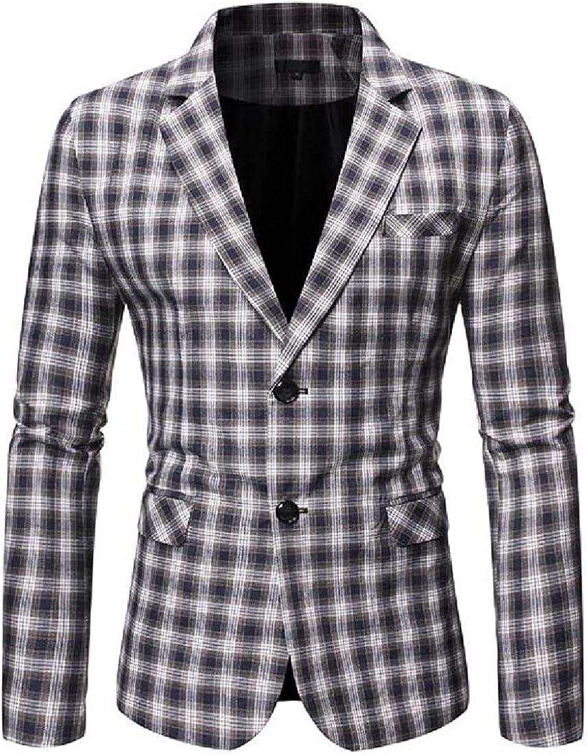 Men All stores are sold Notch Lapel 2 Button Financial sales sale Plaid Slim Jacket Sport Blazer Coat
