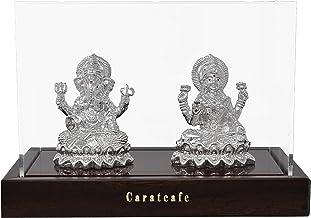 Carat Cafe Maa Laxmi Ganesh, Lakshmi Ma Lord Ganpati Idol Pure Silver 999 Statue,BIS Hallmark Certified for Puja Temple Go...