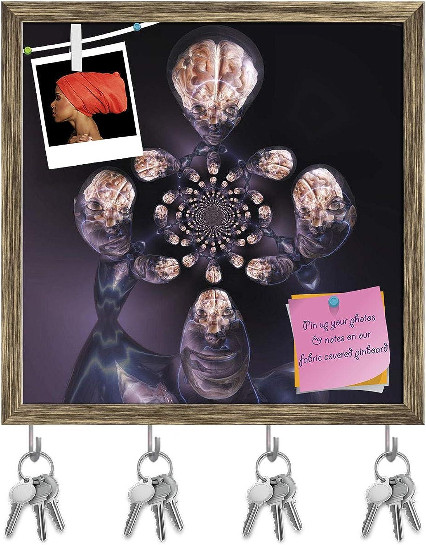Artzfolio Human Brain Key Holder Hooks   Notice Pin Board   Antique golden Frame 20 X 20Inch