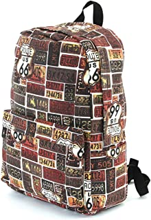 Route 66 License Plate Pattern Canvas Backpack, 16 1/2 Inches