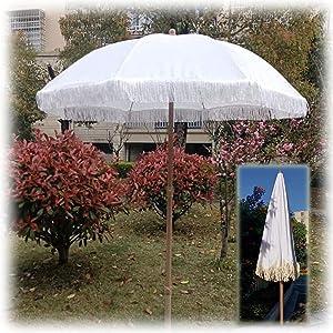 NMDCDH Parasol Round White Parasol Garden Patio Outdoor Umbrella with Tilt Function & Tassel Decoration Parasol, for Party, Weddings, Courtyard Sunshade Protection