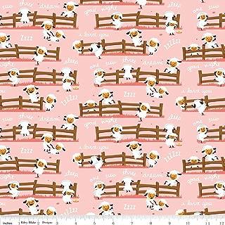 Harmony Farm Sheep Dream Pink - Riley Blake Cotton Fabric