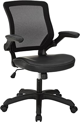 Modway Veer Office Chair with Mesh Back and Vinyl Seat, Black