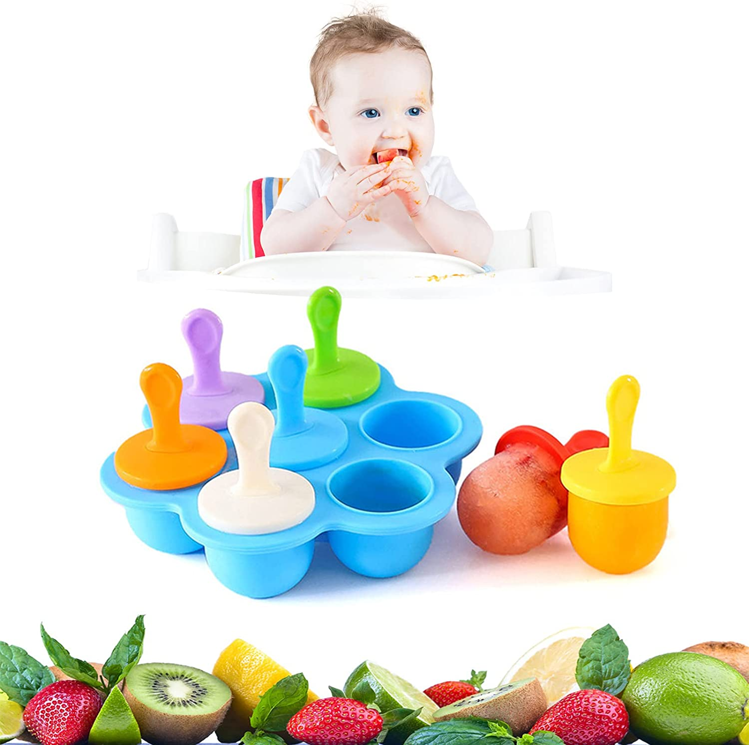 Silicone Popsicle Molds,Mini 7-cavity DIY Ice Popsicle Molds,Non-Stick Popsicle Makers,Food Grade Popsicle Molds as Baby Food Freezer Trays,Baby Popsicle Food Storage Container