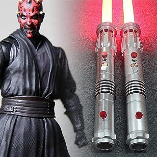 XDXDO Dark Maul Lightsaber, Force 2 in-1 FX Double Lame Double Lumière Sacher Heavy Duel avec éclairage Rouge et Son (45 P...