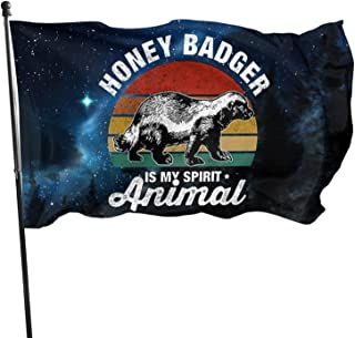 BettiCharm My Spirit Animal is Honey Badger Flag 3x5 Feet Tough Durable Colorfast Flag Indoor/Outdoor Polyester Flag Garde...