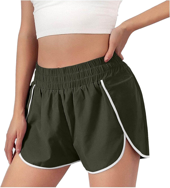 COMVALUE Womens Shorts for Summer,Womens Casual Drawstring Elastic Waist Summer Shorts with Pockets Running